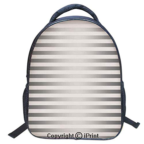 Designer Original Art Print Casual Backpack,Travel Backpack 16Inch Laptop Bag,16 inch,Horizontal Zebra Like Striped Motif with Classical Minimalist Effects Display