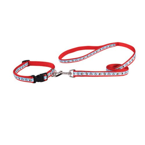 Zack and Zoey Nylon Season's Greetings Collar and Lead Set, Penguins On Ice, 18 to 26-Inch, My Pet Supplies
