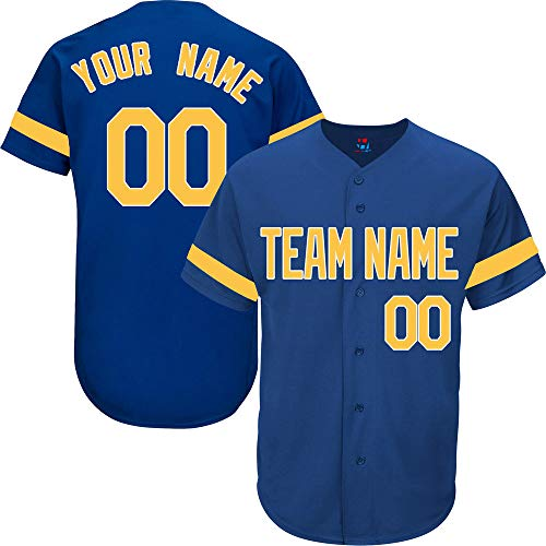 (Royal Blue Custom Baseball Jersey for Men Practice Personalized Your Name & Numbers,Yellow-White Striped Size L)