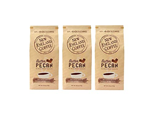 New England Coffee Butter Pecan Ground Coffee, 11 Ounce, Pack of 3