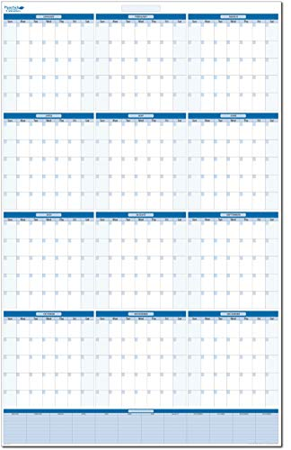 Sky Blue Undated Annual Yearly Dry and Wet Erasable Wall Calendar 24 in. x 36 in. Vertical with Next Year Planning Area