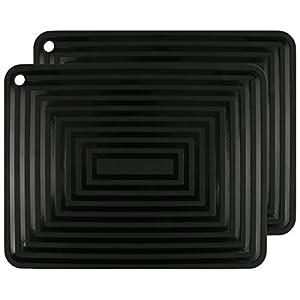 "2 Pack,Silicone Trivet Mats/Hot Pads,Pot Holder,9""x12"" Non Slip Flexible Durable Heat Resistant Pot Coaster Kitchen Table Mats (Black)"
