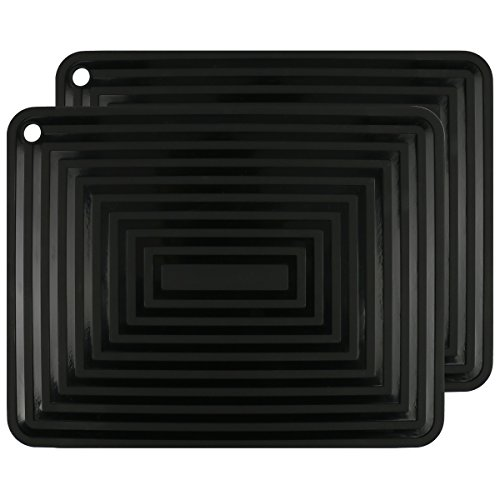 "2 Pack,Silicone Trivet Mats/Hot Pads,Pot Holder,9""x12"" Non Slip Flexible Durable Heat Resistant Pot Coaster Kitchen Table Mats (Black)"
