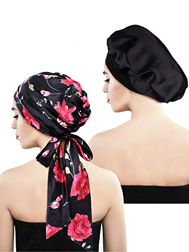 Blulu 2 Pieces Soft Satin Bonnet Cap Satin Head Scarf Pre-Tied Head Wrap Sleeping Headwear for Women, 2 Types (Black Floral with Tail, -