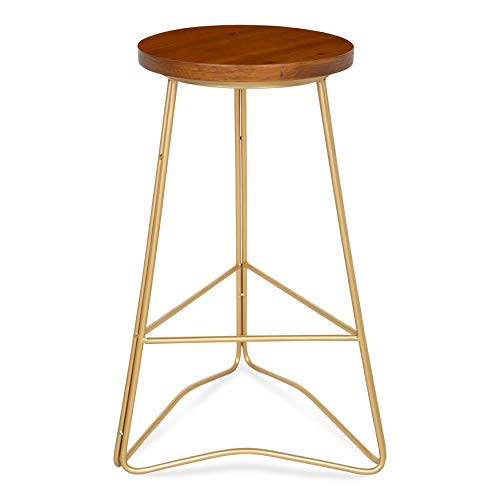 - Kate and Laurel Godwin Midcentury Modern Backless Counter-Height Bar Stool, Gold Metal Base with Walnut Finish Seat