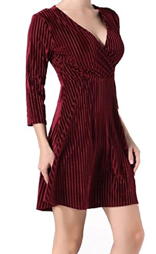 Donne Strisce 4 3 Vino Comode Manica Rosso Del Oro Corto Di Velluto V Sexy Club collo Vestito rFrxUTwq