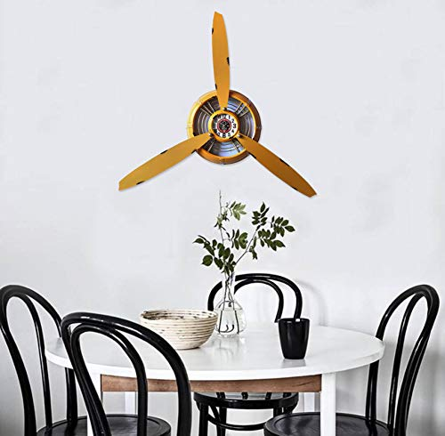 RISEON Vintage Metal Aircraft Airplane Propeller Fan Wall Hanging Wall Clocks Large Wall Sculptures Art for Living Room Bedroom bathrooms Office Kitchen (Yellow) ()