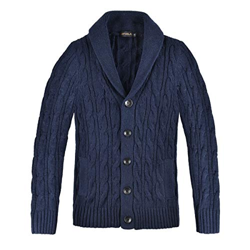 BOTVELA Men's Cable Knit Shawl Collar Casual Cardigan Sweater with Buttons and Pockets (Small, Navy)
