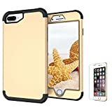 Funyye Hard PC Case for iPhone 6S Plus/6 Plus,Premium Elegant 3 in 1 Combination 360 Degree Full Body Front and Back Detachable Protective Case for iPhone 7 Plus/8 Plus,Anti Scratch Non Slip Slim Fit Durable Impact Resistant Protective Case for iPhone 6S Plus/iPhone 7 Plus/iPhone 8 Plus + 1 x Free Screen Protector,Gold + Black