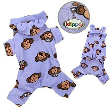 Klippo Pet Adorable Silly Monkey Fleece Dog Pajamas/Bodysuit with Hood Color: Lavender, Size: Medium by Klippo