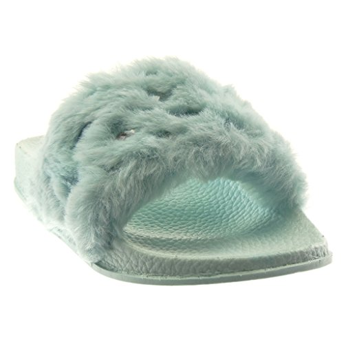 Angkorly Damen Schuhe Mule Sandalen - Slip-On - Step - Pelz - Strass Flache Ferse 2 cm Hellblau
