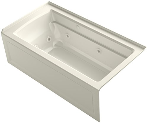KOHLER K-1122-XHGRA-96 Archer 60-Inch x 32-Inch Alcove Whirlpool Bubble Massage Air Bath with Integral Apron, Tile Flange and Right-Hand Drain, Biscuit ()