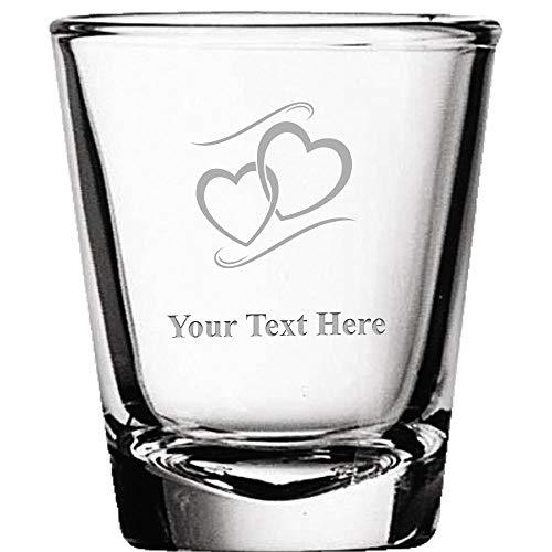Engravable Wedding Favors - Custom Shot Glasses, Personalized Hearts Shot Glass Gift Engraved Prime