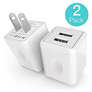 Wall Charger,2-Port Rapid USB Portable Travel Adapter for iPhone 7 6/6S Plus, 5/5S, iPad Pro, Galaxy S7, S6 Edge Plus, S5, Nexus, HTC & more(2-Pack)