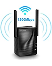 Amplificateur WiFi sans Fil – Répéteur WiFi AC1200 Double Bande 5G et 2.4G, WiFi Extender WIFI Booster avec Port Ethernet Gigabit, Facile à Installer avec Bouton WPS, Couvrir le Signal jusqu'à 200 ㎡