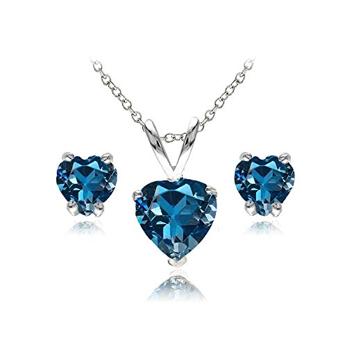 GemStar USA Sterling Silver London Blue Topaz Heart Solitaire Necklace and Stud Earrings Set ()