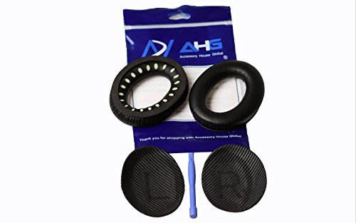 Replacement ear cushions for Bose Quiet Comfort 35 (QC35) and QuietComfort 35 II (QC35 II) headphones. Complete with QC35 Shaped Scrims with L and R lettering (QC35/QC35 II Ear Pads, Black)