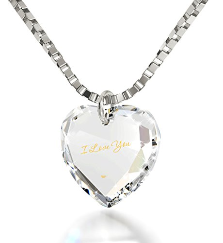 Tiny Heart Pendant I Love You Necklace 24k Gold Inscribed on Clear Crystal, 18