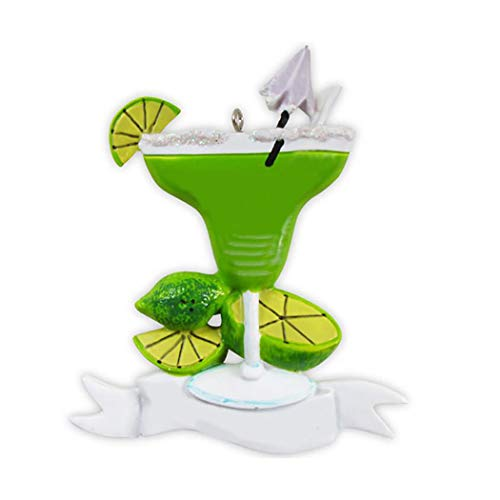 - Personalized Margarita Christmas Tree Ornament 2019 - Green Glitter Cocktail Glass Tequila Liqueur Lime Juice Salt Rim Shaken Ice Blended Mojito Night Out Umbrella - Free Customization