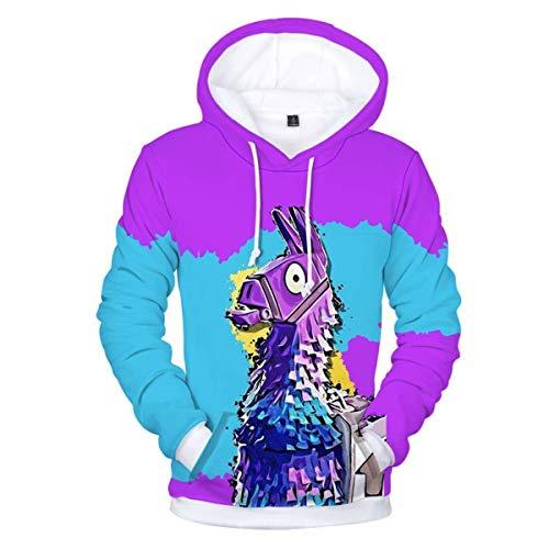 Fabby Unisex 3D Printed Hoodies Sweatshirt Pockets (Medium, Alpaca)