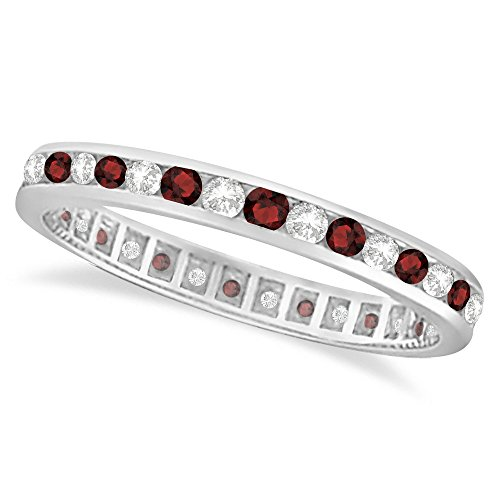 Garnet and Diamond Channel-Set Ring Eternity Band 14k White Gold (1.04ct)