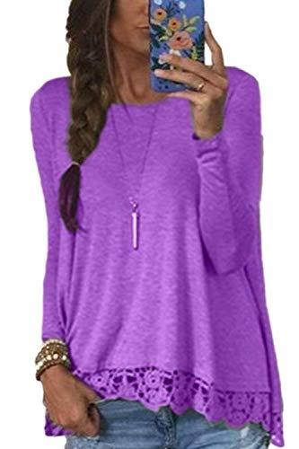 Large Automne Chic Shirt Longue Col Haut Purple Elgante Casual Manche Printemps Rond Laces Costume Splicing Uni Femme Manche Fashion Shirt T Shirts Chemisiers aFgwpIHqg