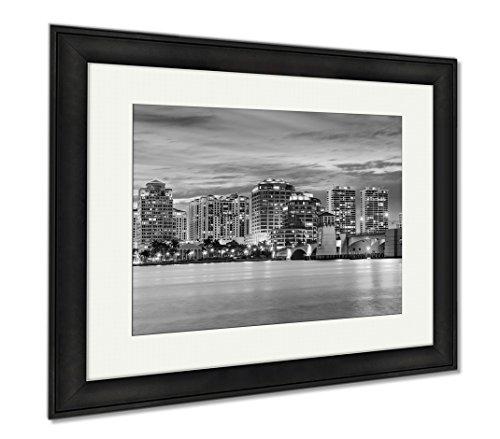 Ashley Framed Prints West Palm Beach Florida USA Downtown Skyline Travel Architecture City, Modern Room Accent Piece, Black/White, 34x40 (frame size), Black Frame, - Place Fl Beach City West Palm