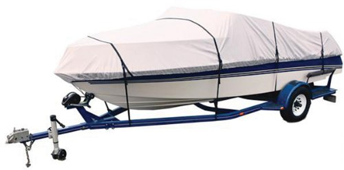 Attwood 10483TI4 Titanium 17'-19' 300 Denier Universal Fit Cover for V-Hull Runabouts Boat and Low Profile Cuddy Cabins with Rail