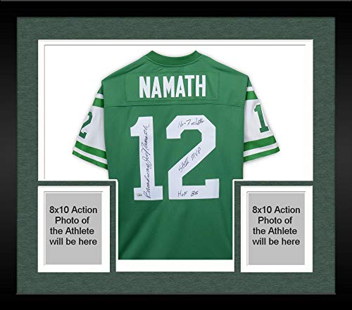Framed Joe Namath New York Jets Autographed Green Mitchell & Ness Replica Jersey with Multiple Inscriptions - Limited Edition #1 of 12 - Fanatics Authentic Certified ()