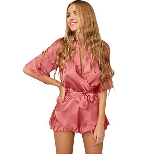 QIQIU Womens New Chiffon Sexy Ruffled Jumpsuit with Belt Casual V-Neck Summer Fashion Short Sleeve Short Elegant Rompers -