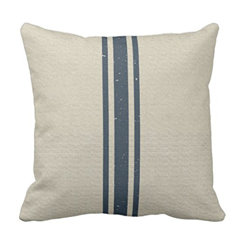 Emvency Throw Pillow Cover Grainsack With Three Navy Stripes Decorative Pillow Case Striped Home Decor Square 20 x 20 Inch Cushion Pillowcase
