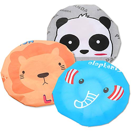 Fast and Good Cute Cartoon Waterproof Elastic Shower Cap Bath Cap for Women and Girls and Kids,Pack of 3 (Panda+Elephant+Lion)