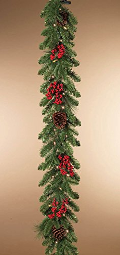 Indoor or Outdoor Battery Operated 6 Foot Pre-lit LED Mixed Pine Garland with Cones and (Pre Lit Cone)