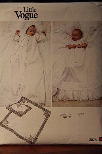 Vogue Bonnet - Little Vogue Pattern 2878 One Size / Infant's Dress, Coat, Bonnet, Pillow Sham And Blanket
