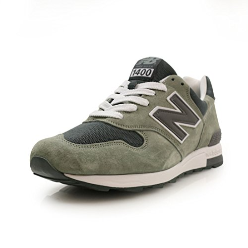 New Balance Mens 1400 Suede Sneakers Made In The USA (10 D(M) US, Grey/White)