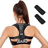 ENKEEO Posture Corrector Adjustable Back Brace Pain Relief Breathable Upper Back Straightener Unisex for Men and Women (Black, L, 25-35 in)