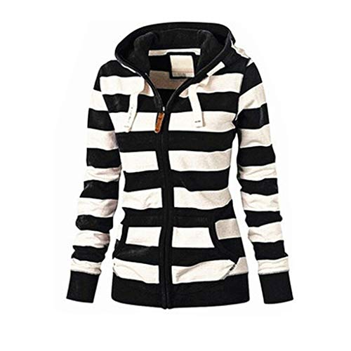 Womens Hoodies Toamen Clothes Sale Clearance Plus Size Stripe Zipper Casual Slim Tops Hooded Sweatshirt Coat Jacket Jumper(Black , 16)