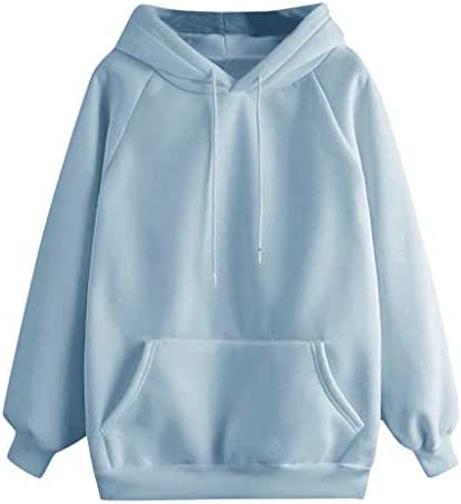 NOMUSING Womens Pullover Sweatshirt with Pockets Casual Solid Color Hooded Long Sleeve Fashion Drawstring Outerwear