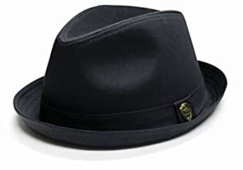 City Hunter Pmt111 Cotton Plain Roll-up with Self Band Fedora - Black (S/m Size)
