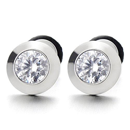 Boucles d'oreilles Homme Femme avec 6MM Zircon Cubique - - 2 pièces