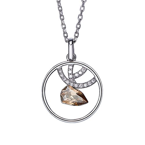Cde Womens Necklace  Swarovski Crystal Pendant Necklaces Deer Fashion Jewelry With Adjustable Silver Chains  Gifts For Woman