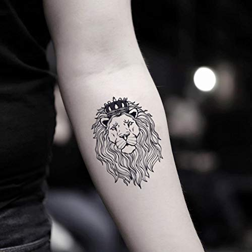 Lion Head Tattoos - Lion with Crown Temporary Fake Tattoo Sticker (Set of 2) - www.ohmytat.com