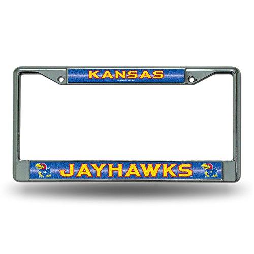 NCAA Kansas Jayhawks Bling Chrome License Plate Frame with Glitter Accent