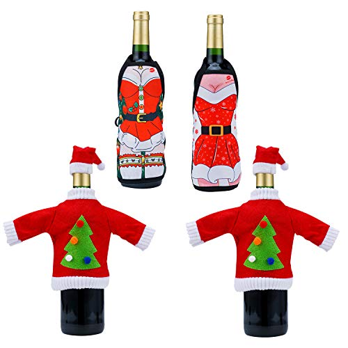 (AHUA 4-Pack Christmas Red Wine Champagne Bottle Cover, Knit Sweater and Cute Christmas Apron Dress,Santa Claus Gift for Christmas Decorations Party Festival)