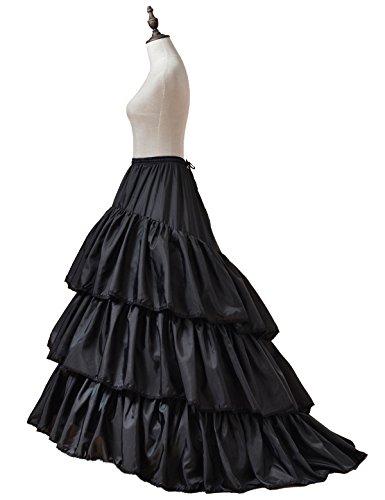 Long Tulle Train (Remedios 3 Hoop Boned Train Petticoat Slip Wedding Understkirt Crinoline Black L-XL(US14W-24W))