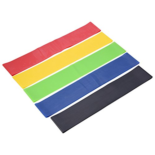 Dilwe 5pcs Resistance Exercise Bands, Unisex Multi Colors Latex Fitness Workout Yoga Loops for Stretching YogaLegs Training Physical Therapy by Dilwe (Image #1)