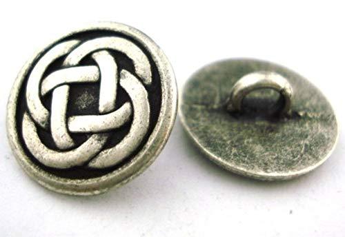Celtic Knot Buttons, Antique Silver, 5/8