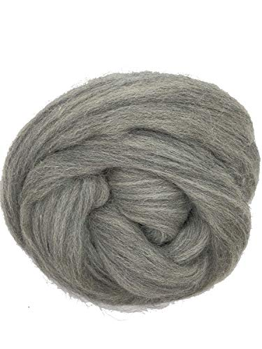 Grey Wool Top Roving Fiber Spinning, Felting Crafts USA (1lb) ()