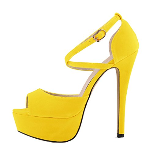 Peep On Heels Pumps Damenmode Sandale Slip Toe High Stiletto Schuhe Samt gelb Plateau Ondd6qp