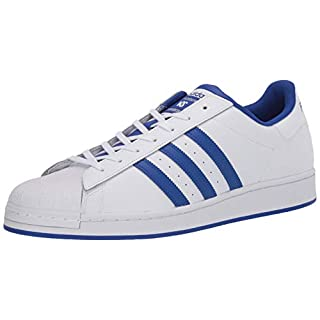 adidas Originals Men's Super Star Sneaker, White/Bold Blue/Granite, 4.5